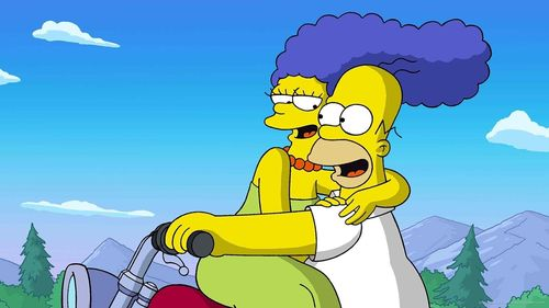 Marge-and-homer-simpson-on-a-motorcycle